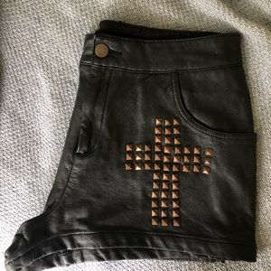 Topshop pleather shorts with copper cross studs